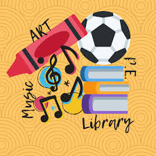 Picture of musical instruments, books, PE equipment and art supplies