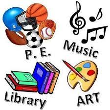 PE, music, art, library graphic