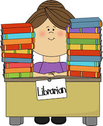 clip art of librarian with books