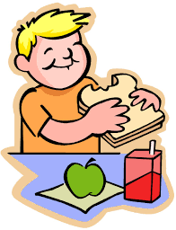 Clip art of student eating lunch