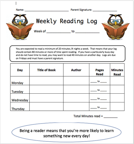 3rd grade mrs fortunato weekly reading log