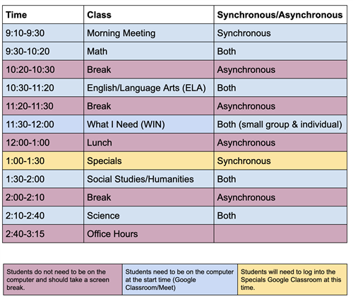 Daily Virtual Schedule