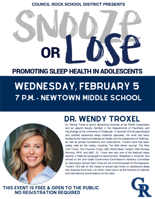 flyer for dr wendy troxel event
