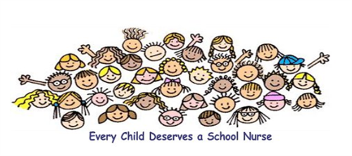 Decorative image with text saying every child deserves a school nurse