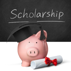 Piggy bank with diploma for scholarships