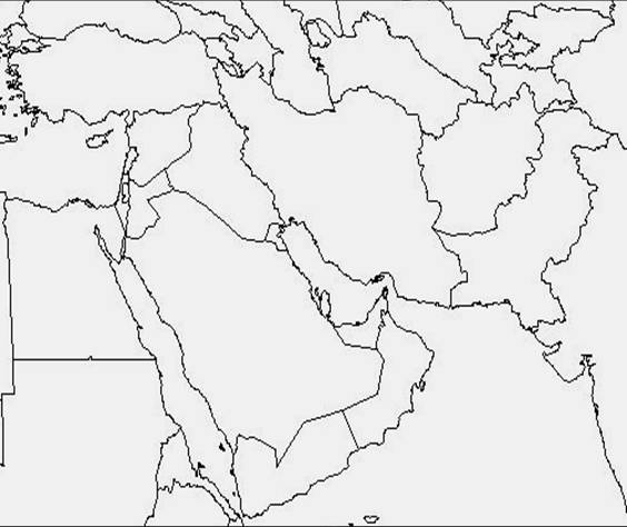 Central Asia Blank Map Middle East And North Africa ...