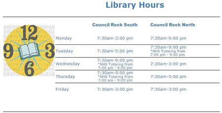 Library Hours 2015-16